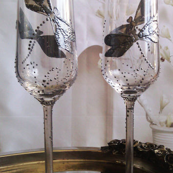 CRYSTAL SET of 2 hand painted wedding champagne flutes Dragonflies in silver color