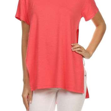 Women Round Neck Side Slit Open Short Sleeve Tunic Jersey Draped Tee Shirt Top