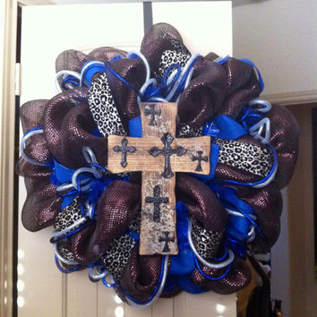Chocolate Deco Mesh CROSS Wreath