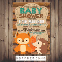 Woodland Fox and Hedgehog baby shower invite (custom made for your shower!) PRINTABLE digital file - woodland animals - log cabin - rustic