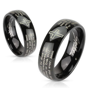 8mm Cross and Lords Prayer Black IP Stainless Steel Dome Band Men's Ring