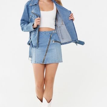 Zip-Accent Denim Mini Skirt