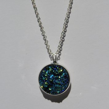 Big Ocean Blue Faux Druzy Pendant 16mm