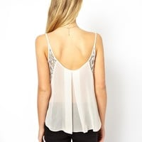 ASOS Cami with Contrast Lace Panels