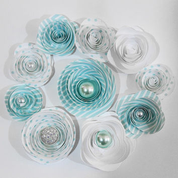 10 Blue Spiral Paper Flowers - Gift Toppers - Lot - Baby Shower - Baby Boy - Centerpiece - Party Favors - Gift - Home Decor