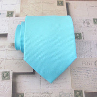 Mens Tie. Tiffany Blue Tonal Stripes Necktie With Matching Pocket Square Option Inspired by Alfred Angelo's Blue Box