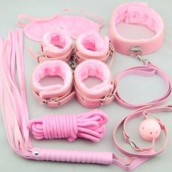 Rbenxia 7pcs Pink Fetish Bondage Restraint Beginner Complete Gear Cuffs Shackles Sex Toy Set