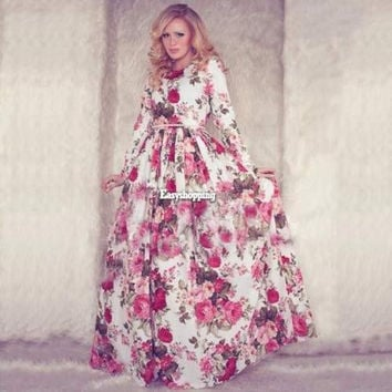 Women's Boho Floral Print Long Sleeve Party Cocktail Evening Maxi Vintage Dress