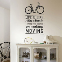 Wall Decal Bicycle Ride - Quote Stickers - 4make - CoolWallart