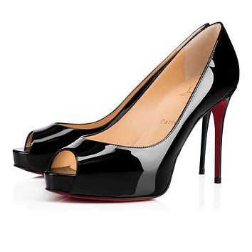 Best Online Sale Christian Louboutin Cl New Very Prive Black Patent Leather 100mm Stil