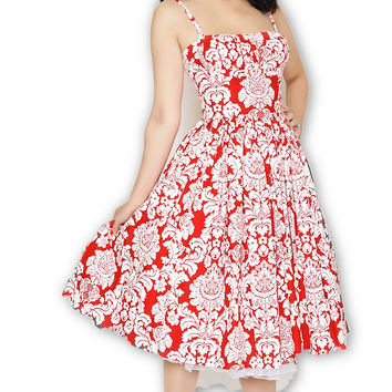 Paris Dress in Red Damask XS (ONLY 1 Left!)
