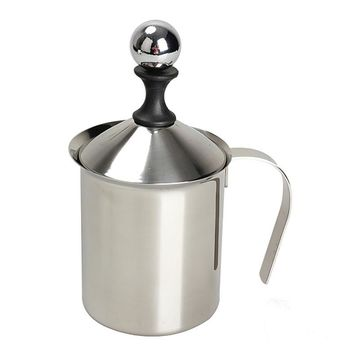 400ML Stainless Steel  Pump Milk Frother Double Mesh Milk Creamer Cappuccino Coffee Milk Frother Kitchen Applicance