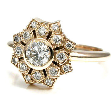 Art Deco Engagement Ring - Petal Double Halo 14k Yellow Gold and Diamond Nouveau Wedding Ring