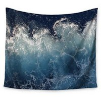 "Navy Ocean Suzanne Carter Sea Spray Wall Tapestry (51""x60"") - Kess InHouse"