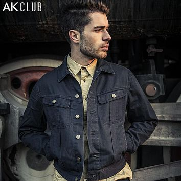Denim Jacket Men Classic Herringbone Denim Jeans 100% Cotton Vintage Coat Casual Short Jacket For Men