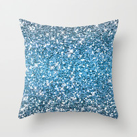 Night Blue Glitters Sparkles Texture Throw Pillow by Tees2go | Society6