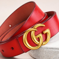 GUCCI New Fashion Women Simple Joker Vintage Belt Red