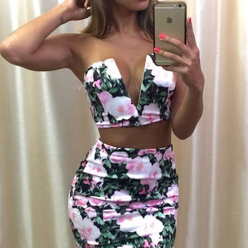 Reverse Floral Two-Piece Dress
