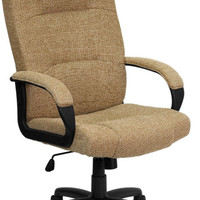 High Back Beige Fabric Executive Swivel Office Chair