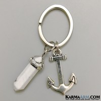 Keychain | You Are My Anchor | Reiki Healing Chakra Gemstone Keyring | White Turquoise