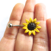 Sunflower Belly Button Jewelry Stud Ring- Big Large Flower Daisy Navel Piercing Bar Barbell Yellow Azeetadesigns