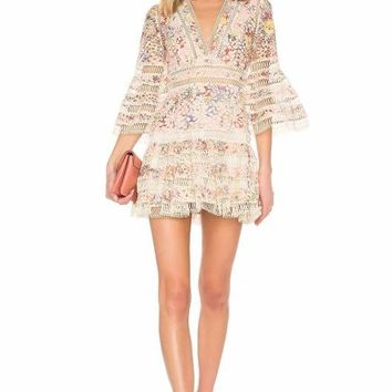 Ivory Floral V-Neck Lace Mini Dress