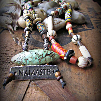 NAMASTE~ Silver Tribal ETHNIC Necklace~African recycled glass beads~EARTHY beaded Jewelry~Long Eclectic Style Necklace~Mdogstudios~