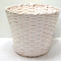 White, Woven, Wood, Planter, Basket, Plastic, Lined, Spring, Decor, Boho, Cottage, Pottery, Waste, Bathroom, Plant, Country, Patio, Gift, 4H