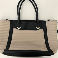 GUC Steve Madden Black and Beige Tote Purse Handbag