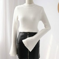 Buy Phantasy Bell-Sleeve Mock-Turtleneck Sweater | YesStyle