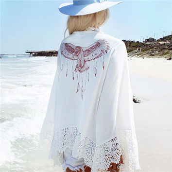 2017 Summer Blouse Bathing Suit Cover Ups Tunic Beach Chiffon Kimono Fashion Pareo Robe Floral Printed Kaftan Sexy Hawaiian Robe