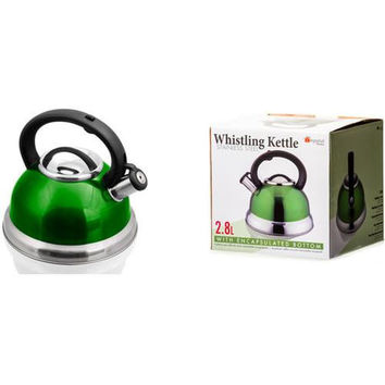 Stainless Steel Whistling Tea Kettle - Green / 2.8