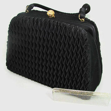 Vintage Crown Lewis Black Silk Handbag With Gold Clasp and Glitter Comb, Black Lewis Purse, Evening Bag