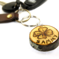 Four Leaf Clover Keychain | St. Patrick's Day Keychain | Personalized Clover Keychain | Wood Slice Keyring | Wooden Keychain | Wood & Resin