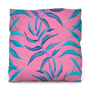 Neon Palms Throw Pillow