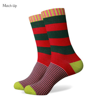 Collection socks men multi colour stripe cotton sock men socks