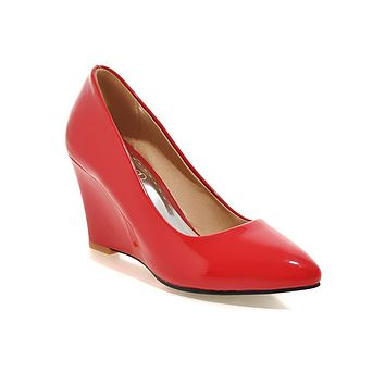 Patent Leather Shallow Pointed Toe Wedges Shoe Women