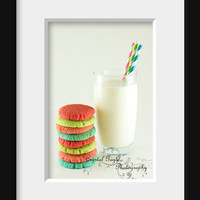 Milk and Cookies Red Green Blue Lime Aqua Turquoise 11x14 Kitchen Wall Decor Art Photography Print