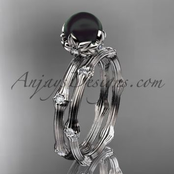 Platinum Tahitian Black Pearl vine and leaf engagement set ABP38S