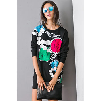 Soul Purpose Colorful Pattern Knit Dress