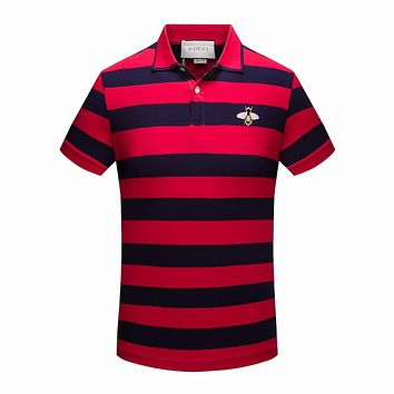 Gucci Women or Men Fashion Casual Stripe Pattern Embroidery Shirt Top Tee