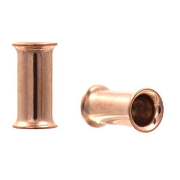 Pair of Rose Gold Color Ion Plated Double Flared Ear Plug Tunnels - 4G 5mm