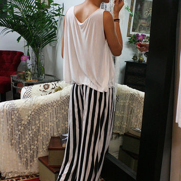 Travel Light Lounge Pajama Black and White Stripe Silk Knit Wide Trouser Low Rise Honeymoon Dream Sleepwear Lingerie