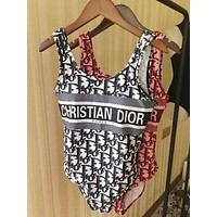 Dior Beach Fashion Women Print Vest Type One Piece Bikini Swimwear