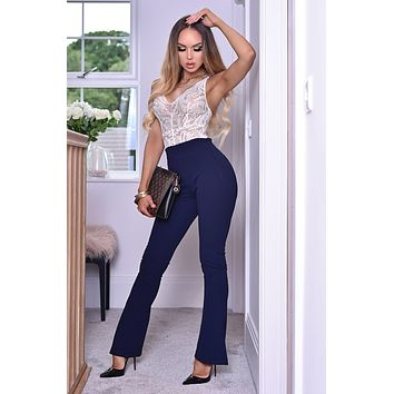 Navy Blue Dressy Work Office Stretchy Slim high waisted flared pants