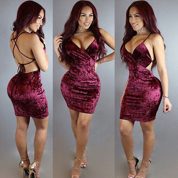 Sexy Women Backless Bodycon Bandage Party Dress Ladies Velvet Midi mini Dress