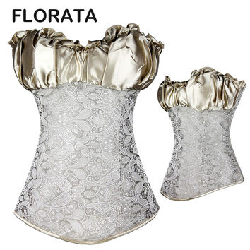 FLORATA Hot Fashion Plus Size Lace up Back Satin Boned Corset Bridal Lingerie Body shaper Top