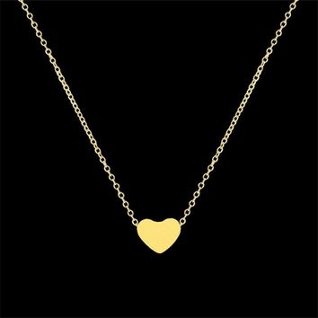 Stainless Steel Choker Necklace Dainty Heart Pendant Necklaces