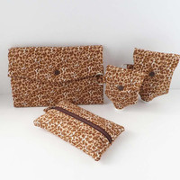 Leopard Print Womens Wallet and Accessories, Tissue Case, Hand Sanitizer Bottle Cover
