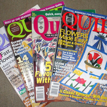 4 QUILT MAGAZINES / Summer 2003 / Spring 2004 / Summer 2004 and February/March 2008 / Old Quilting Magazines/ Contains Patterns/Instructions